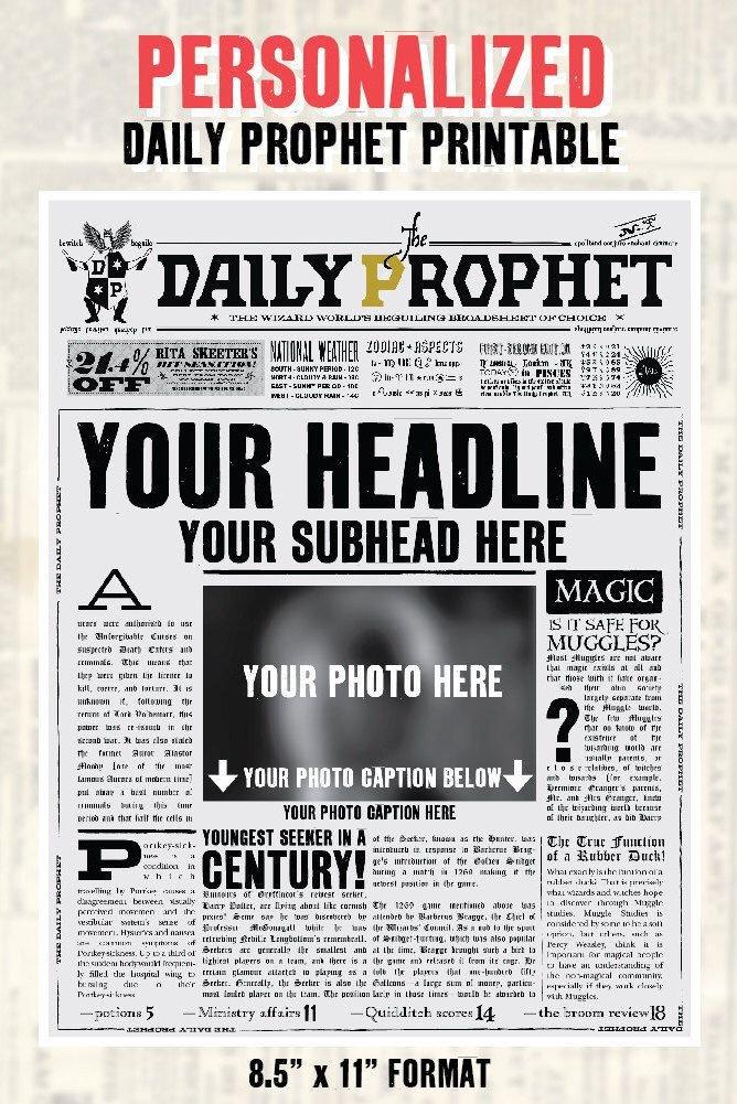 Free Printable Birthday Newspaper Custom Daily Prophet Front Page Printable Pdf