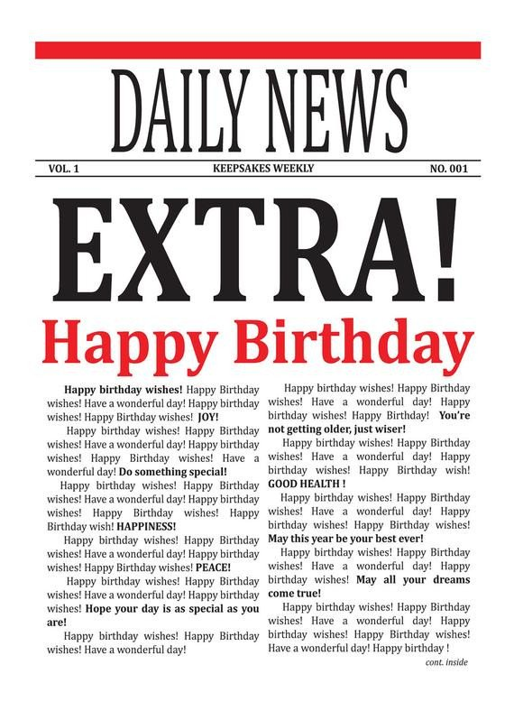 Free Printable Birthday Newspaper Items Similar to Newspaper Card Birthday Wishes Card