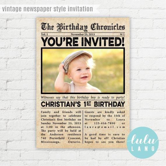 Free Printable Birthday Newspaper Items Similar to Vintage Newspaper Style Birthday