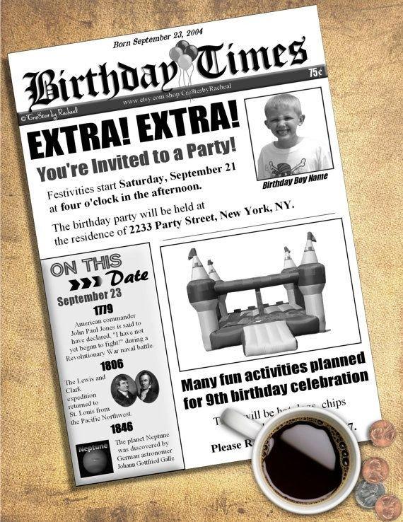 Free Printable Birthday Newspaper Newspaper Birthday Invitation Diy Printable by