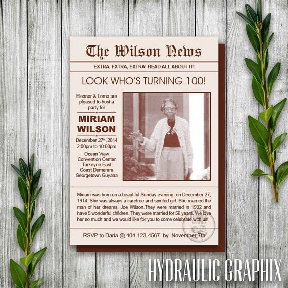 Free Printable Birthday Newspaper Newspaper Invitation Birthday Newsletter Invitation