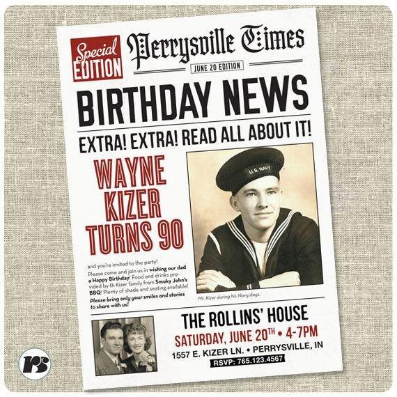 Free Printable Birthday Newspaper Newspaper Style Birthday Invitation Card Printable