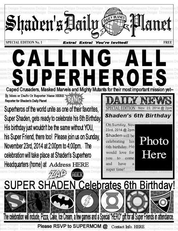 Free Printable Birthday Newspaper Super Hero Invitation Superhero Birthday Invitation