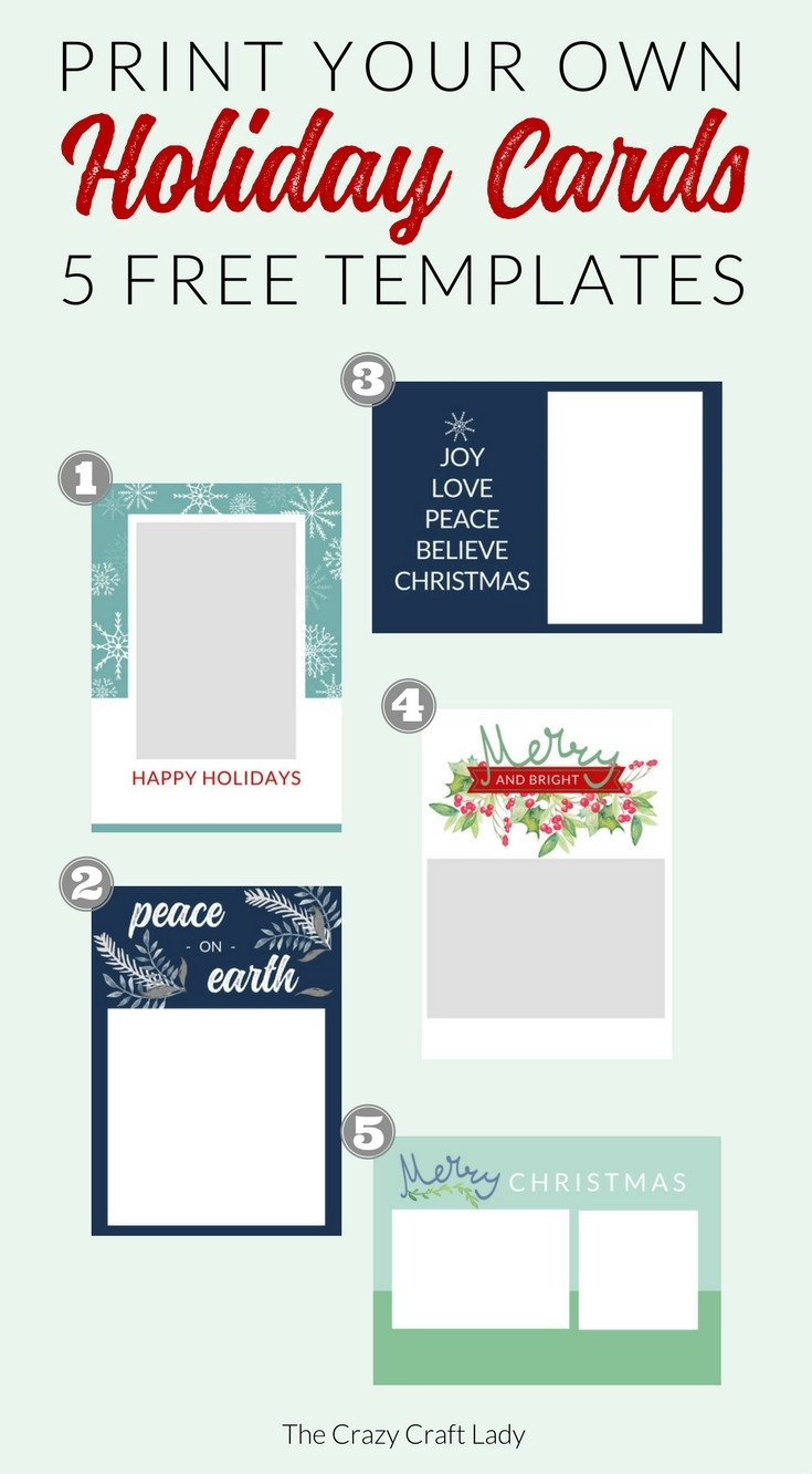 Free Printable Card Templates Free Christmas Card Templates the Crazy Craft Lady