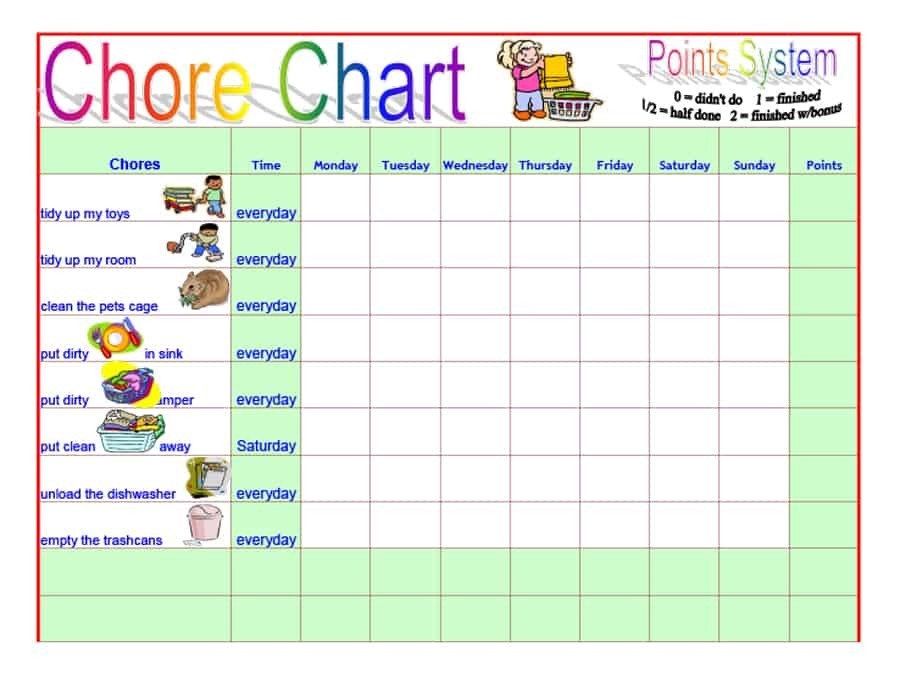 Free Printable Chore Chart Templates 43 Free Chore Chart Templates for Kids Template Lab