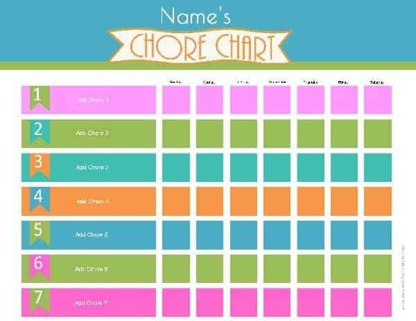 Free Printable Chore Chart Templates Chore Chart Template