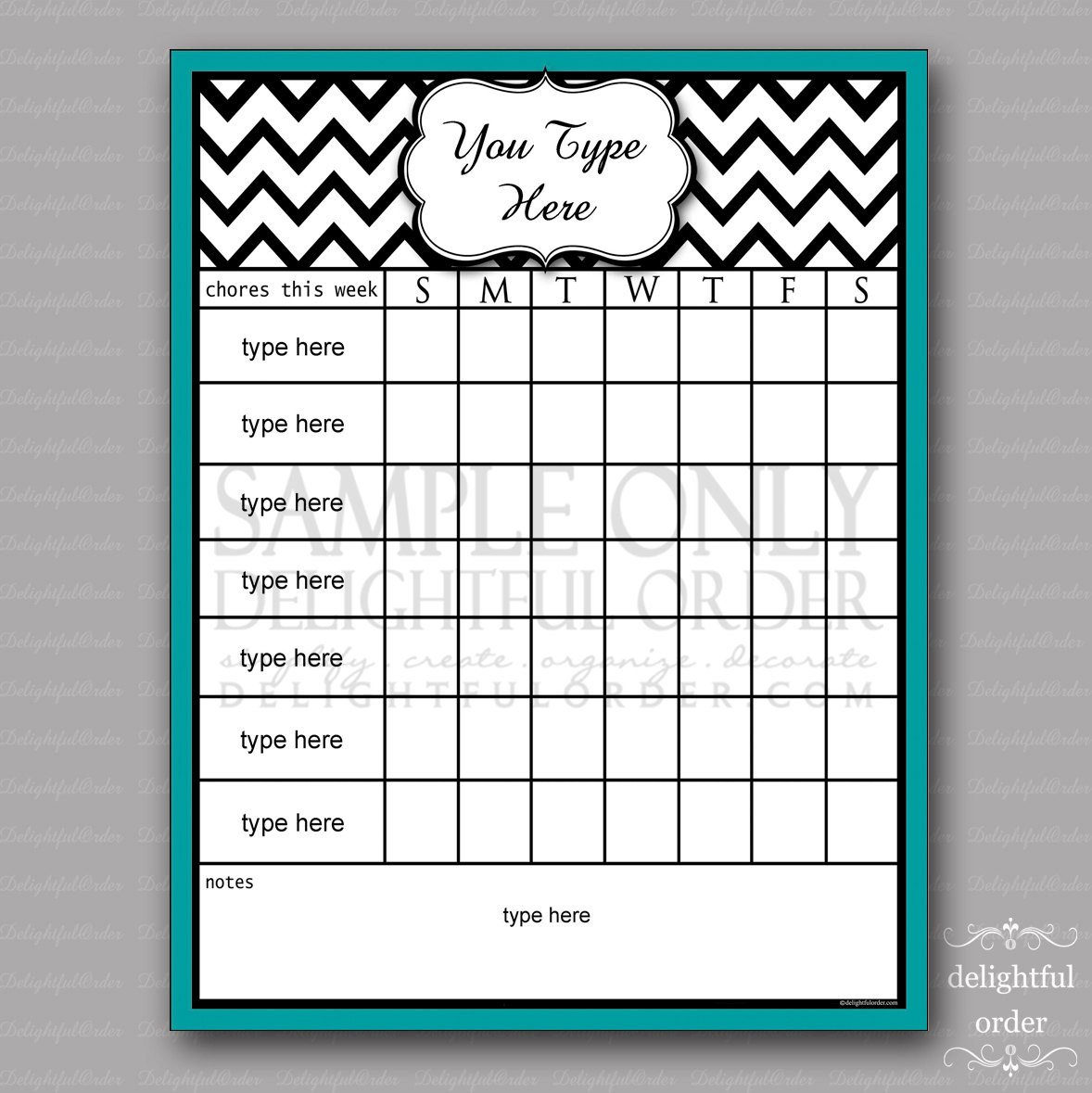 Free Printable Chore Chart Templates Editable Teal Chevron Chore Chart Pdf File Instant