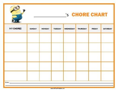 Free Printable Chore Chart Templates Free Printable Minions Chore Chart Parenting