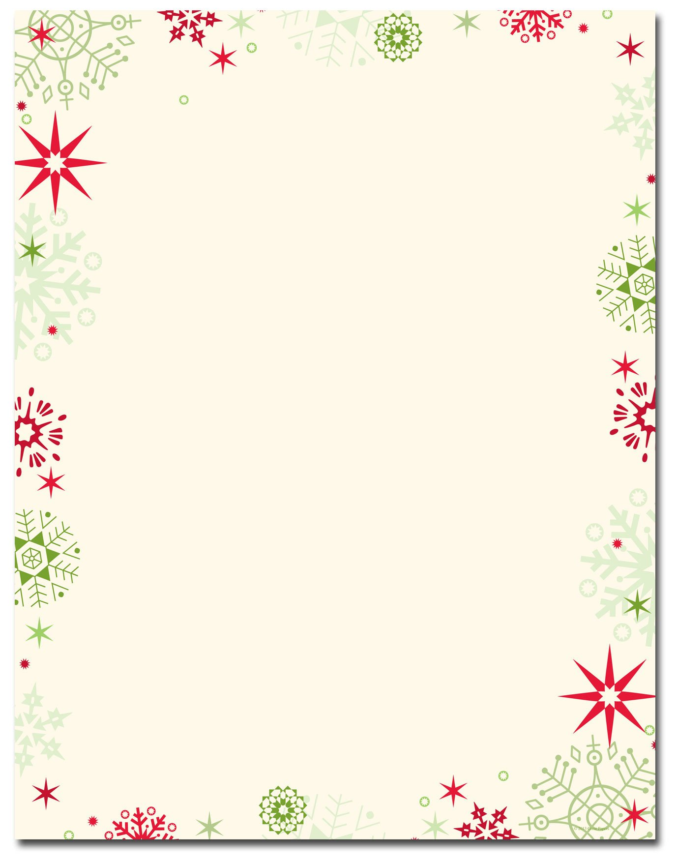 Free Printable Christmas Paper Christmas Stationery Red & Green Flakes Letterhead