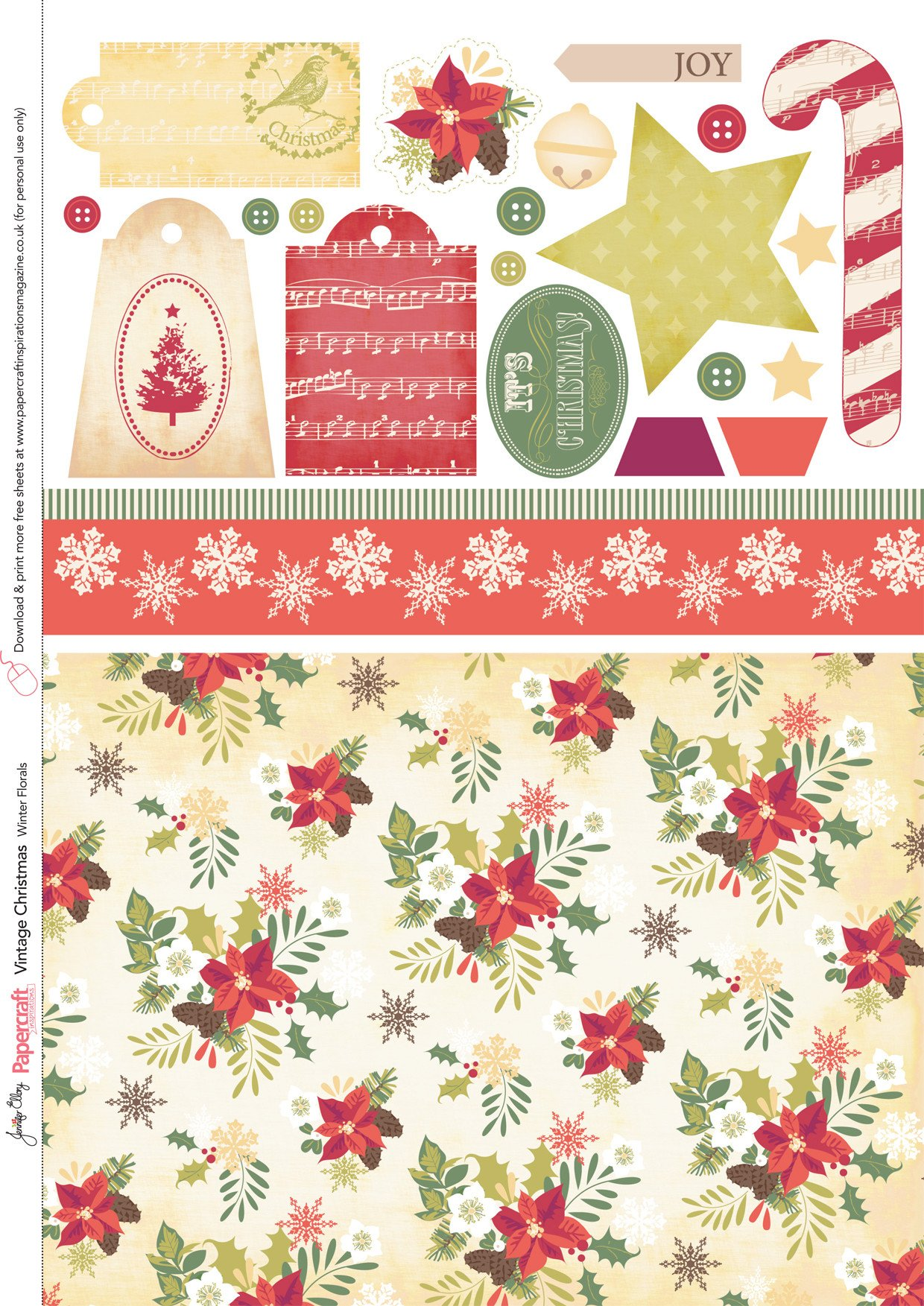 Free Printable Christmas Paper Free Vintage Christmas Papers From Papercraft Inspirations