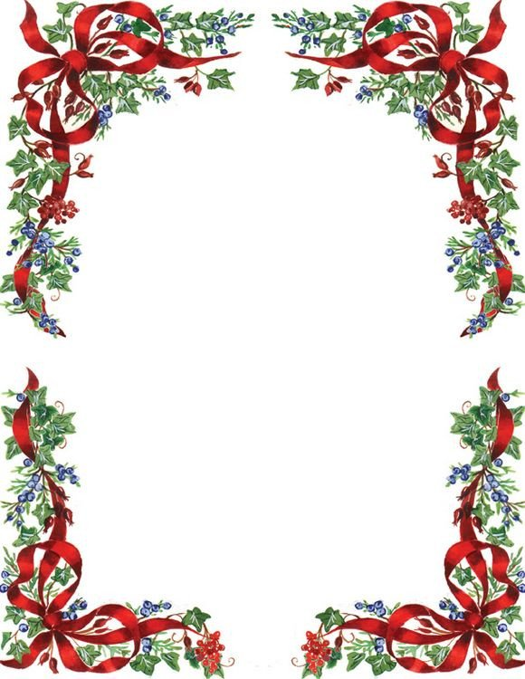 Free Printable Christmas Stationery Ivy and Berries Christmas Letterhead Geographics 8 5x11