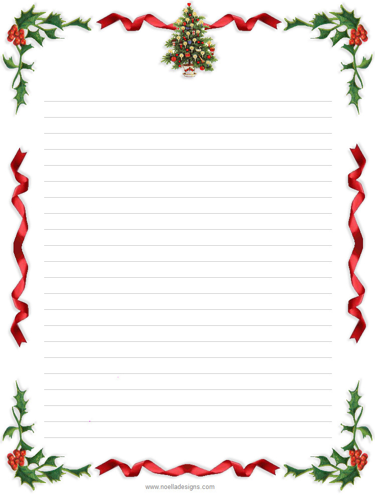 Free Printable Christmas Stationery Lined Stationery 4 Glenn and Masako