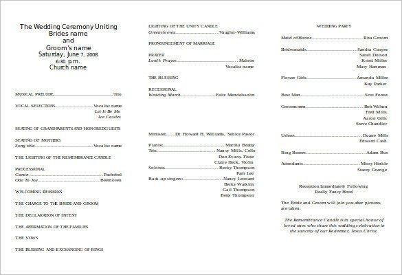 Free Printable Church Program Templates 8 Word Wedding Program Templates Free Download
