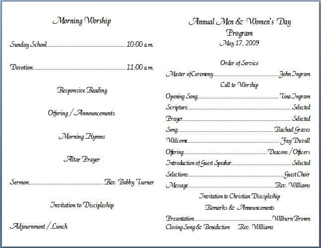 Free Printable Church Program Templates Church Bulletin Templates