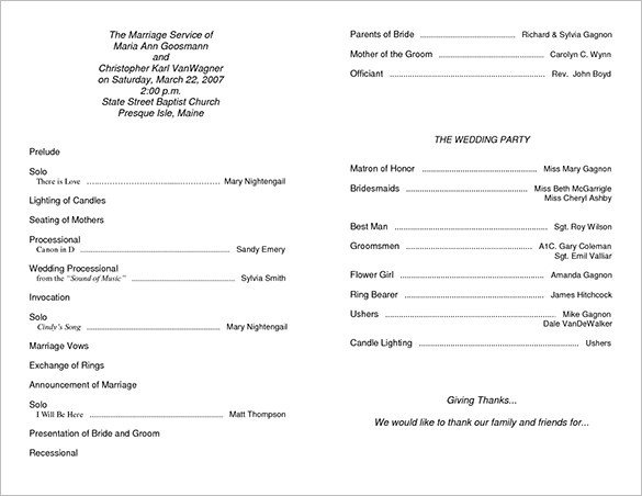 Free Printable Church Program Templates Wedding Ceremony Program Template 36 Word Pdf Psd