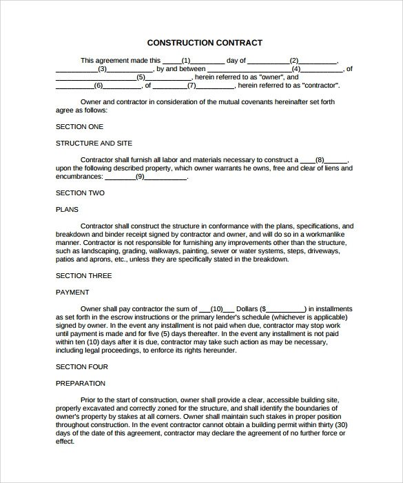 Free Printable Construction Contracts 9 Construction Contract Templates – Pdf Word Pages