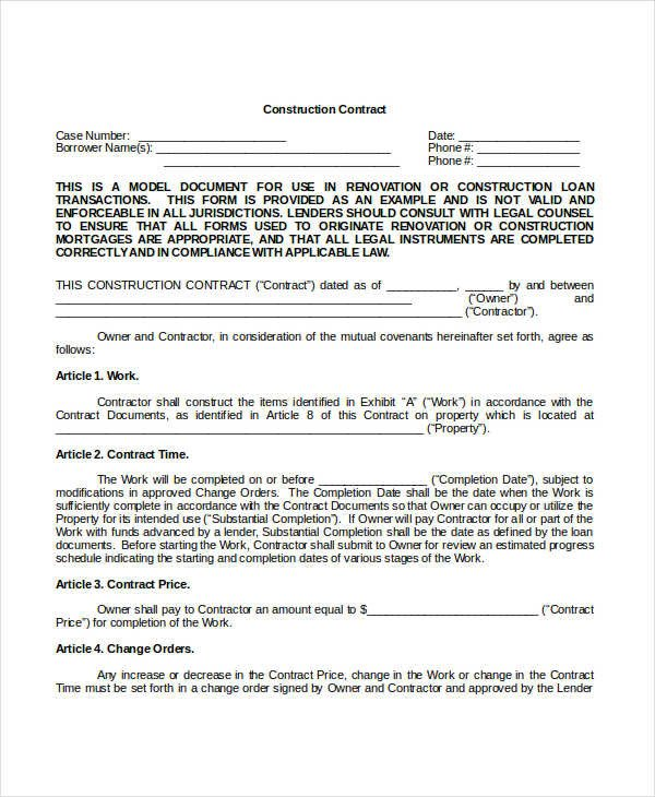 Free Printable Construction Contracts Construction Contract Template 14 Word Pdf Apple