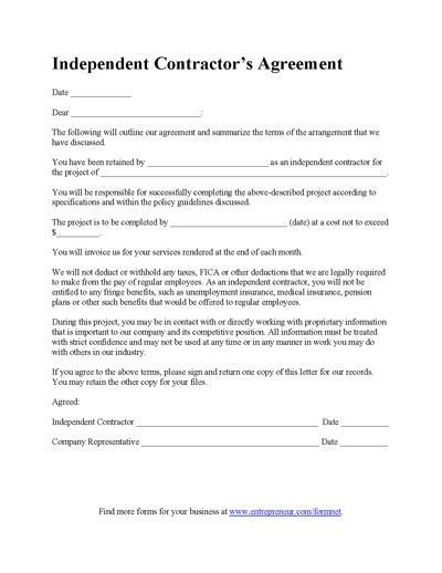 Free Printable Construction Contracts Contractor Agreement Template Business forms
