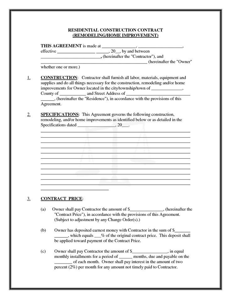 Free Printable Construction Contracts Pics Of Residential Construction Contracts