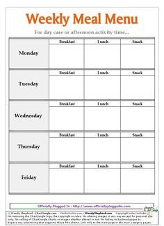 Free Printable Daycare Menus 1000 Images About Daycare On Pinterest