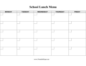 Free Printable Daycare Menus Cafeteria Supervisors Parents and Others Can Use This