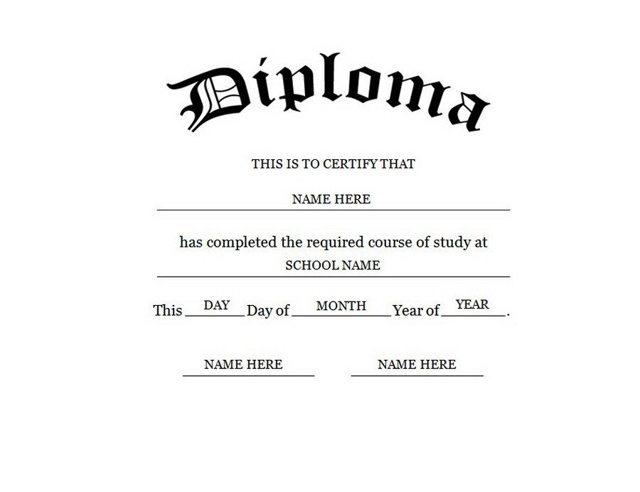Free Printable Diploma Template Blank High School Diploma Template Free Printables