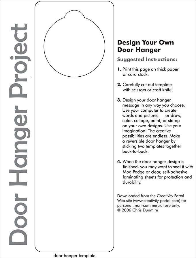 Free Printable Door Hanger Template Door Hanger Template