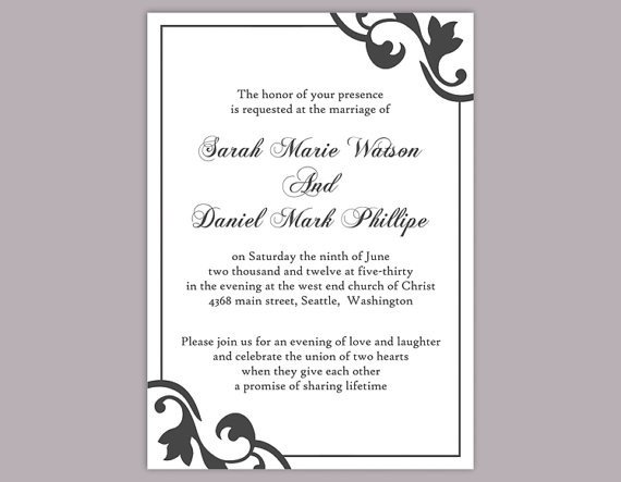 Free Printable Elegant Stationery Templates Diy Wedding Invitation Template Editable Word File Instant
