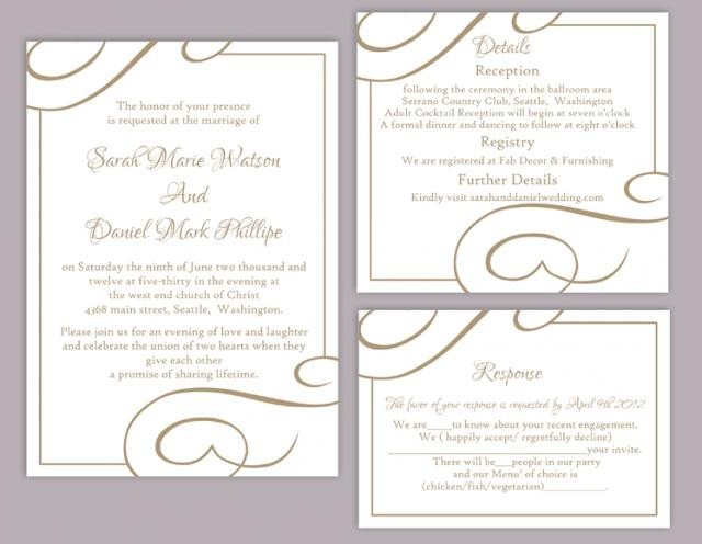 Free Printable Elegant Stationery Templates Diy Wedding Invitation Template Set Editable Word File