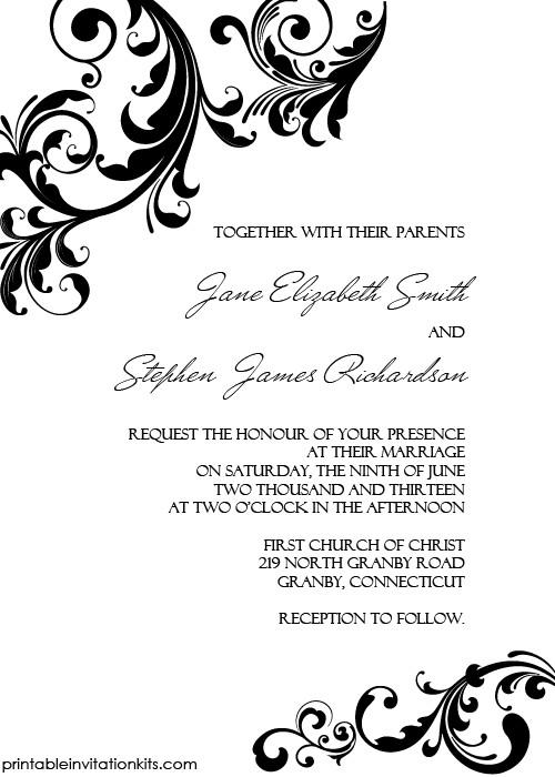 Free Printable Elegant Stationery Templates Elegant Wedding Invitation Swirling Borders