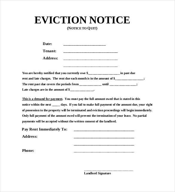 Free Printable Eviction Notice Template 38 Eviction Notice Templates Pdf Google Docs Ms Word