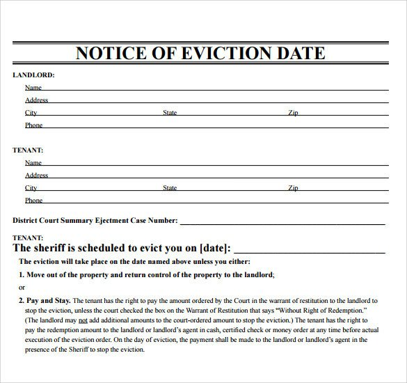 Free Printable Eviction Notice Template 43 Eviction Notice Templates Pdf Doc Apple Pages