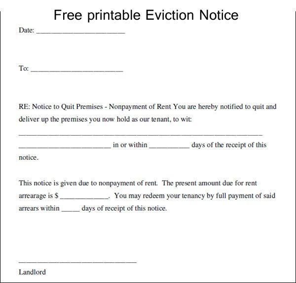 Free Printable Eviction Notice Template Printable Eviction Notice