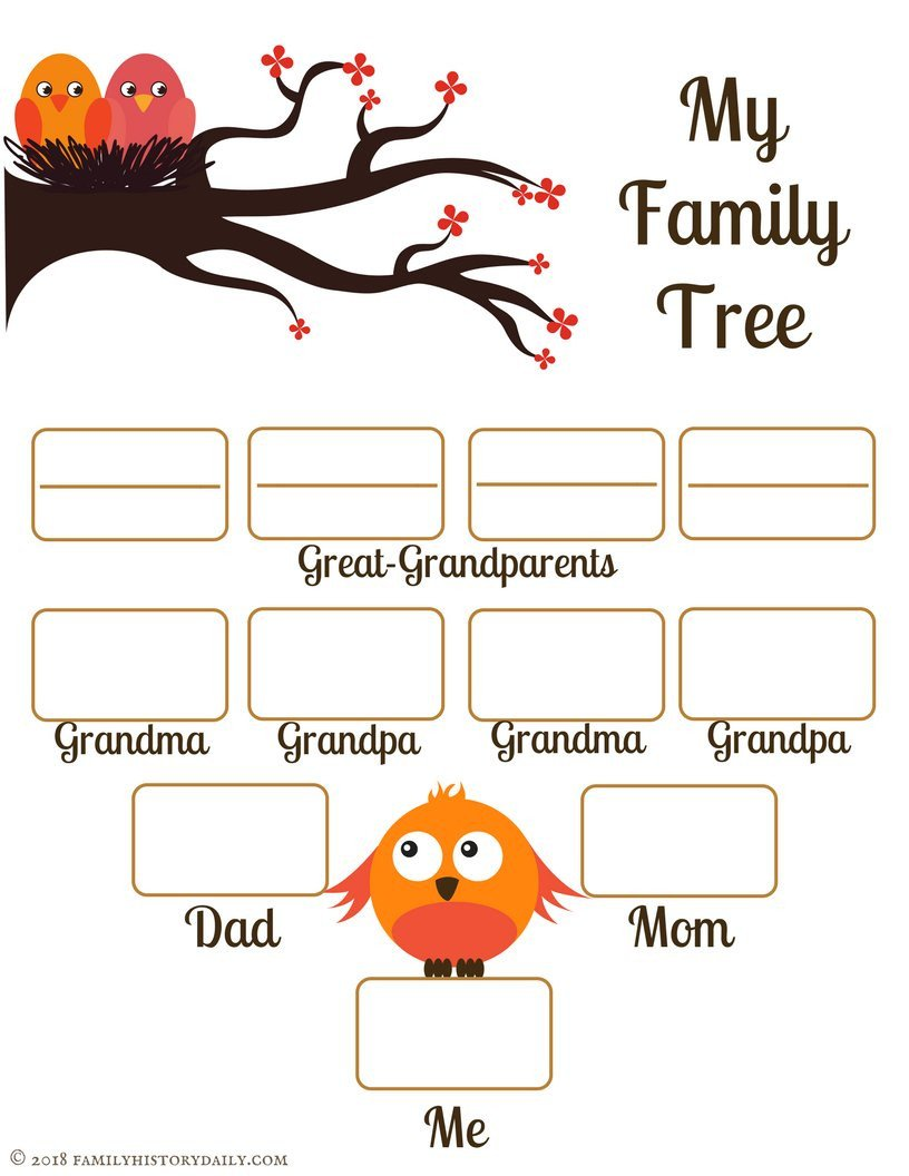 Free Printable Family Tree Template 4 Free Family Tree Templates for Genealogy Craft or