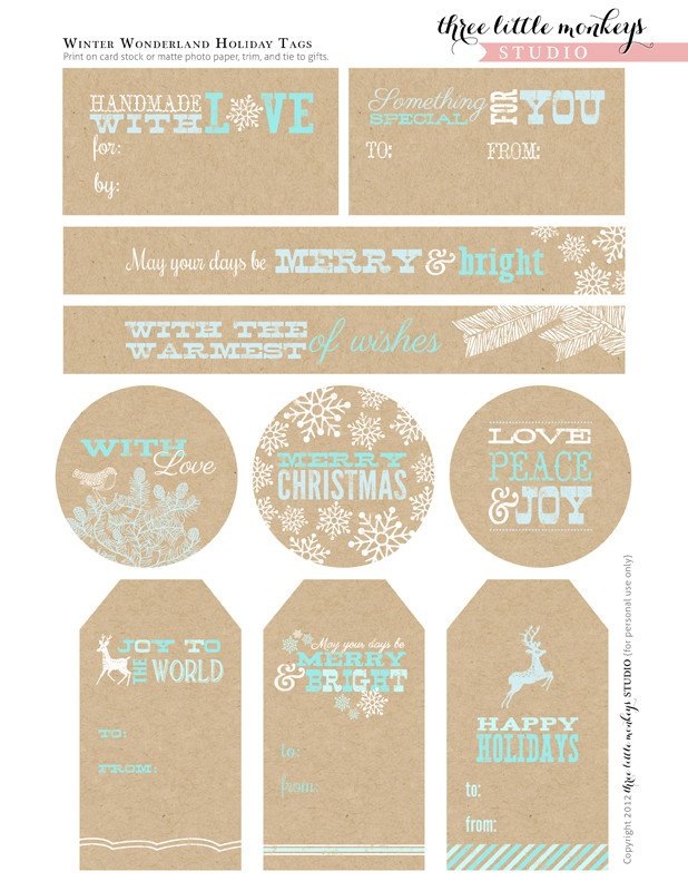 Free Printable Favor Tags Free Christmas Party Printables From Three Little Monkeys