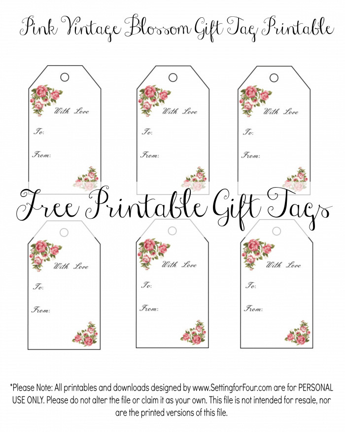 Free Printable Favor Tags Vintage Blossom Free Printable Gift Tags Setting for Four