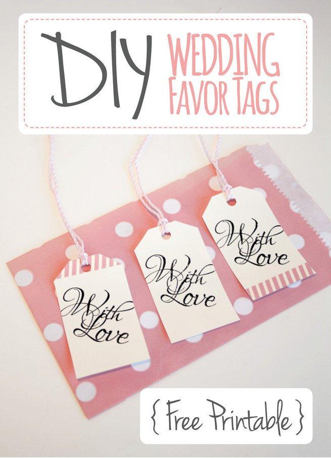 """Free Printable Favor Tags Wedding Favor Tags """"with Love"""" Luggage Tag Printable"""
