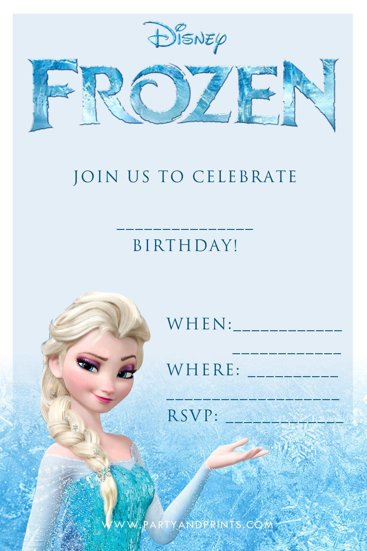 Free Printable Frozen Invites 20 Frozen Birthday Party Ideas