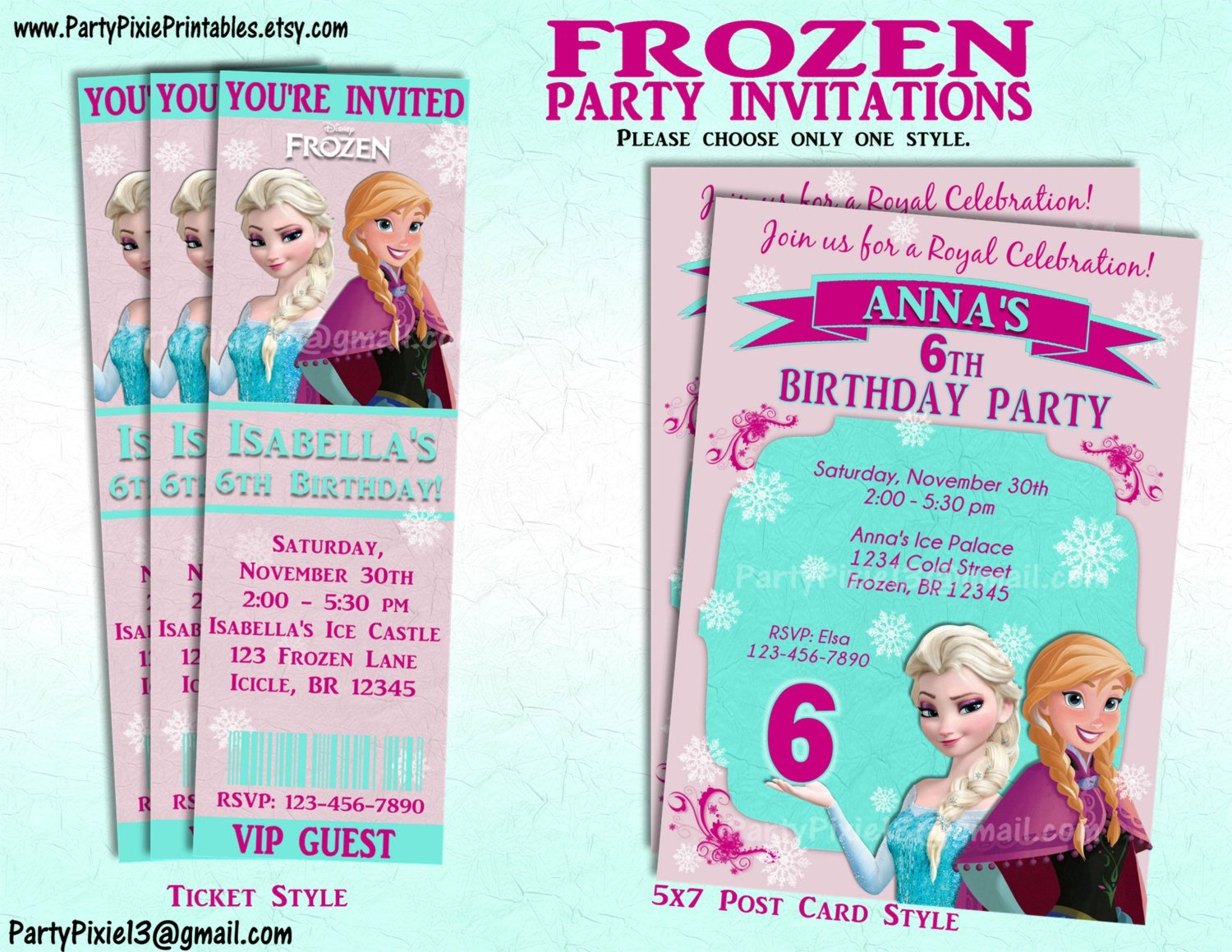 Free Printable Frozen Invites Disney Frozen Party Invitation and or Party Package Printable