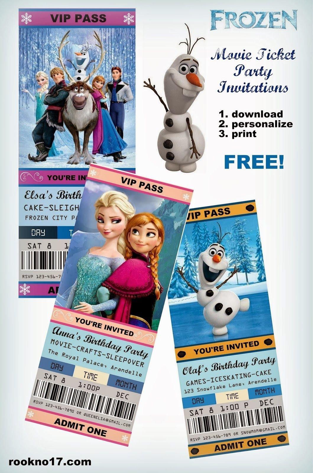Free Printable Frozen Invites Free Frozen Invitations On Pinterest