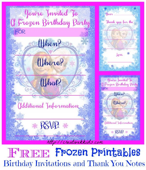 Free Printable Frozen Invites Frozen Birthday Party Invitation and Thank You Printable