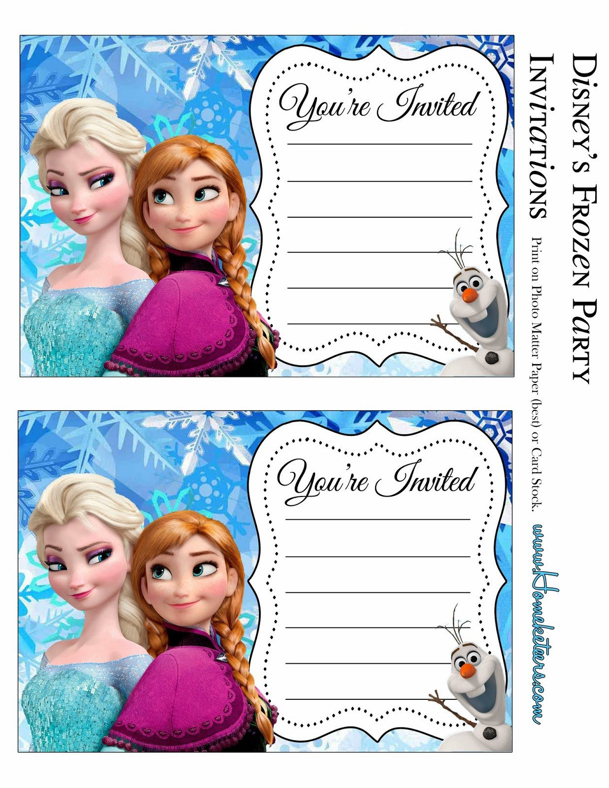 Free Printable Frozen Invites Frozen Party Free Printable Invitations