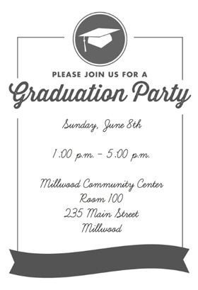 "Free Printable Graduation Invitation Templates ""ribbon Graduation"" Printable Invitation Template"