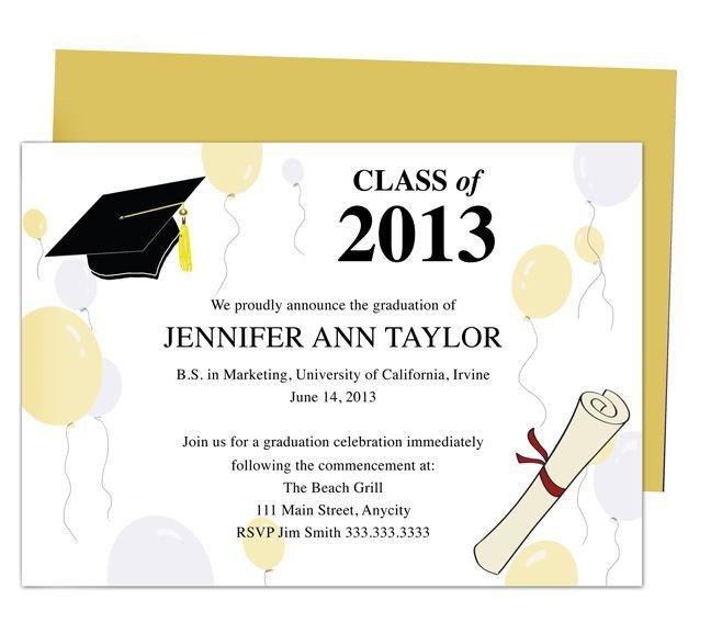 Free Printable Graduation Invitations 46 Best Printable Diy Graduation Announcements Templates