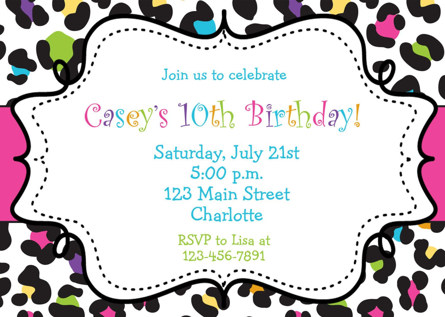 Free Printable Invitation Templates Birthday Invitations Browsing Exclusive Animal Print themed