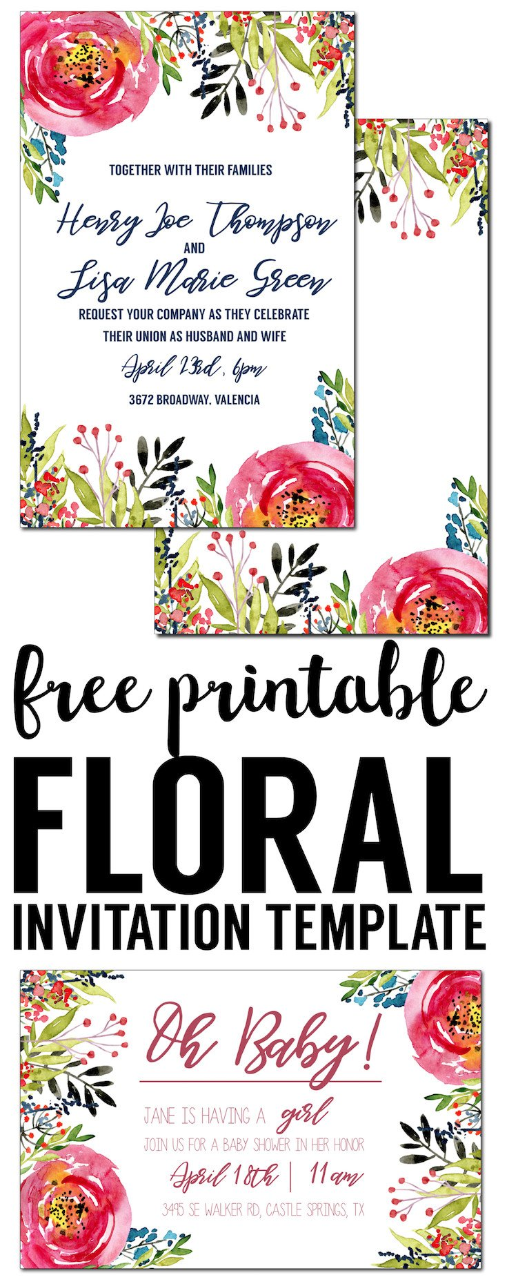 Free Printable Invitation Templates Floral Invitation Template Free Printable Paper Trail