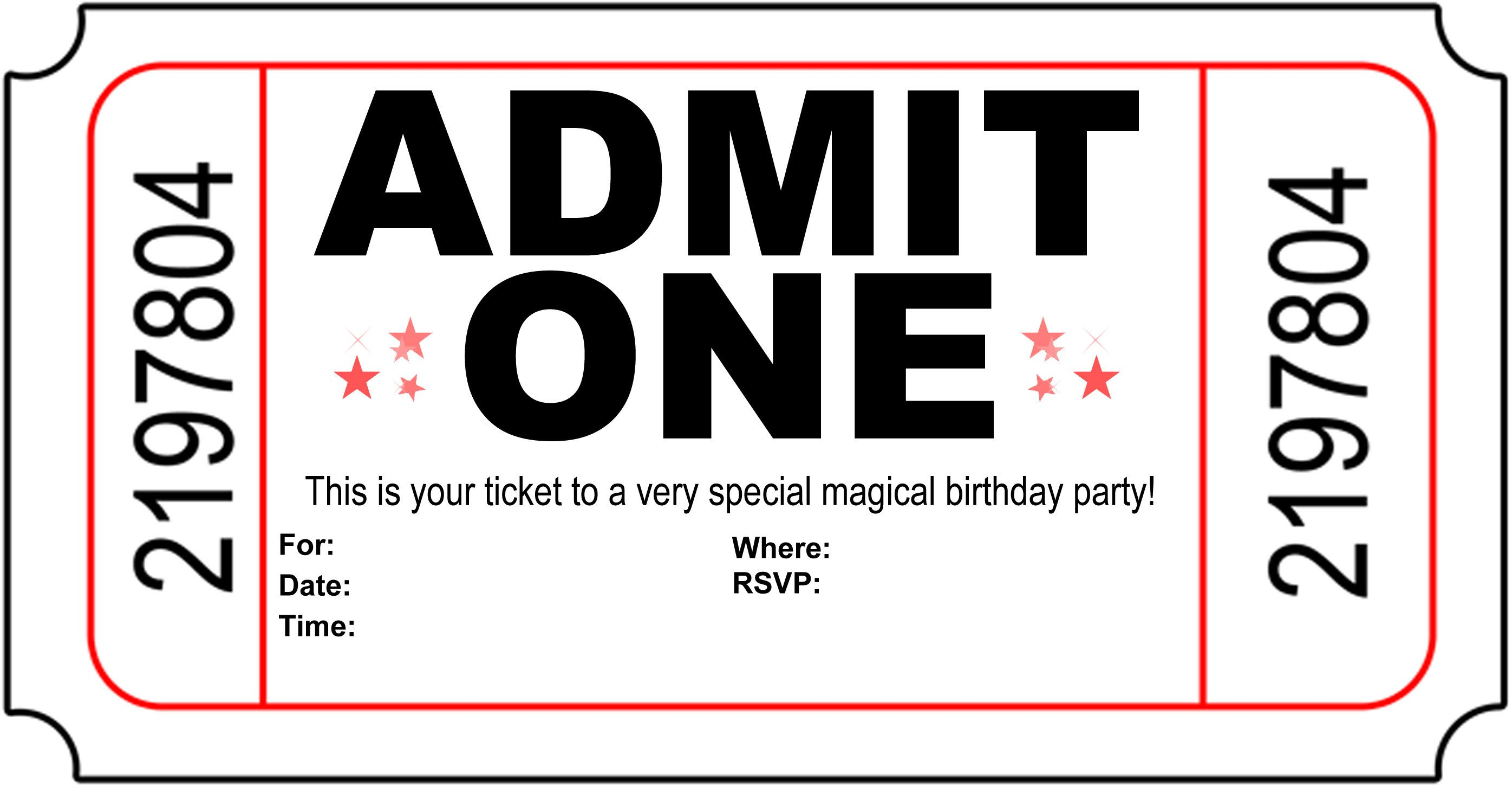 Free Printable Invitation Templates Free Carnival Ticket Invitation Template Download Free
