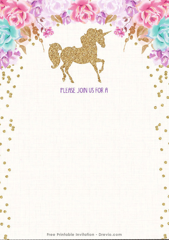 Free Printable Invitation Templates Free Printable Golden Unicorn Birthday Invitation Template