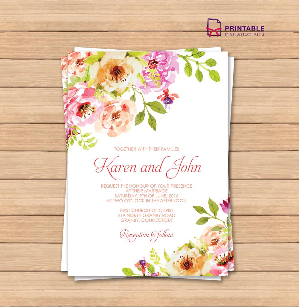 Free Printable Invitation Templates Vintage Floral Border Invitation Template ← Wedding