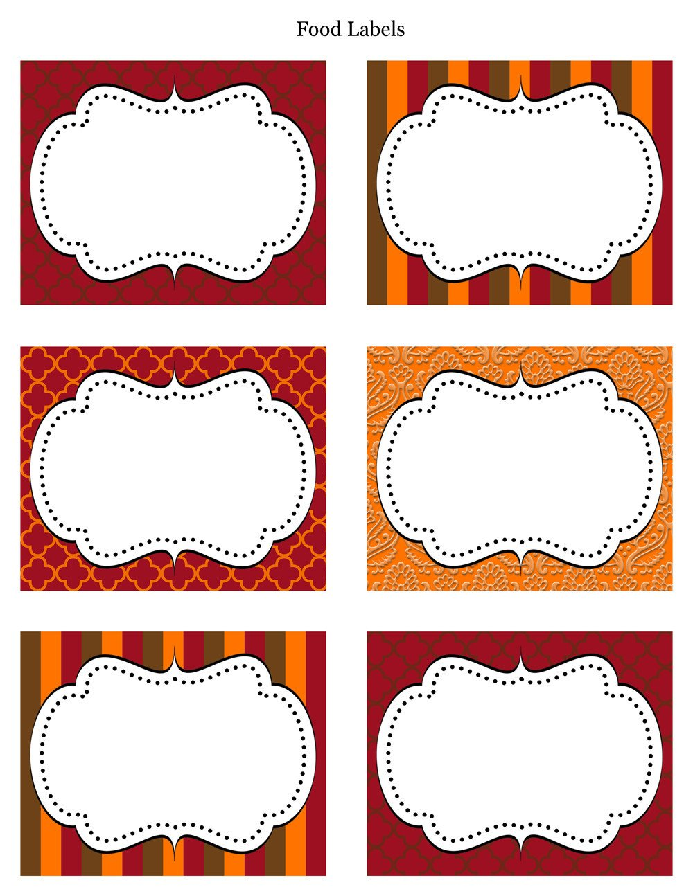 Free Printable Label Template Free Thanksgiving Party Printables From Cupcake Express